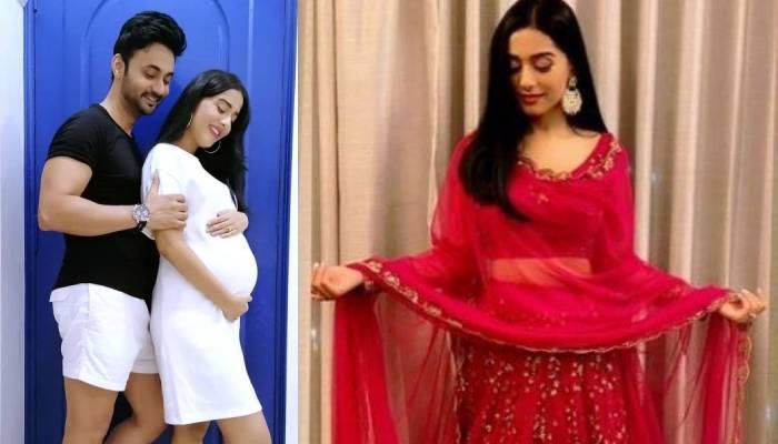 अमृता राव ने रेड साड़ी में फ्लॉन्ट किया बेबी बंप, नवरात्री और नौवें महीने को लेकर कही ये बात